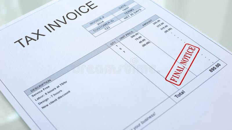 Sello final del aviso sellado en el documento comercial de la factura del impuesto, pago de la economía stock de ilustración