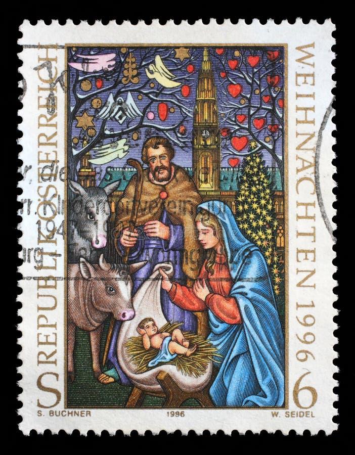 Sello impreso por Austria, nacimiento de la Navidad de las demostraciones de Jesús imagen de archivo