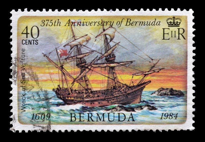Sello impreso por Bermudas foto de archivo