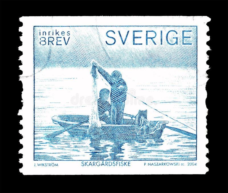 Sello impreso por Suecia imagenes de archivo