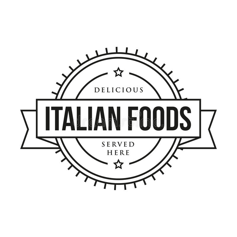 Sello italiano delicioso del vintage de las comidas stock de ilustración