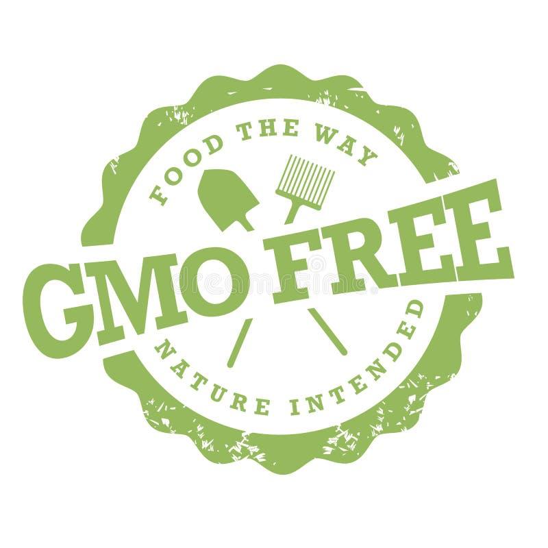 Sello libre de la OGM en blanco ilustración del vector