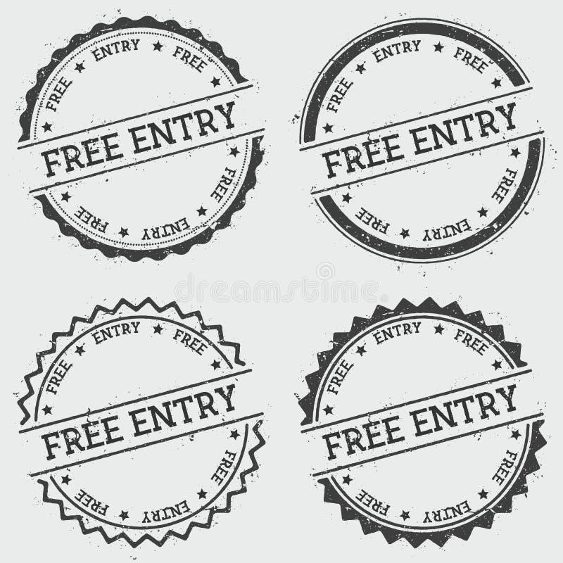 Sello libre de las insignias de la entrada aislado en blanco stock de ilustración