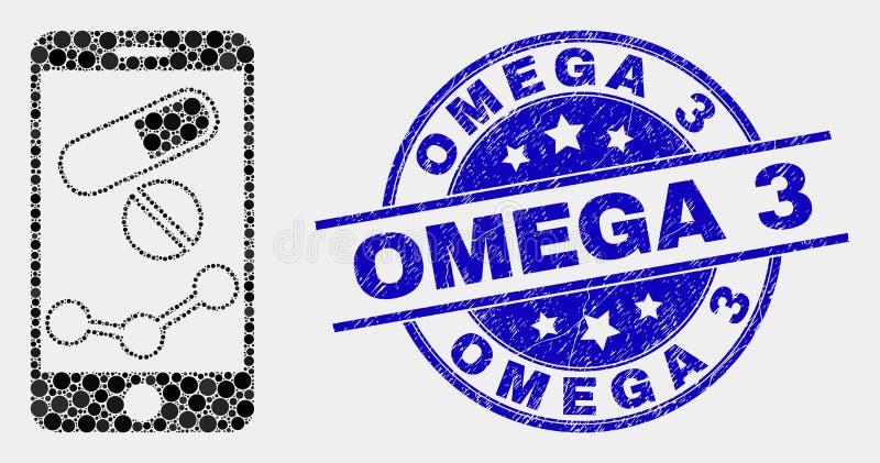 Sello móvil del icono de la carta de la farmacia del pixel del vector y del sello de Omega 3 de la desolación libre illustration