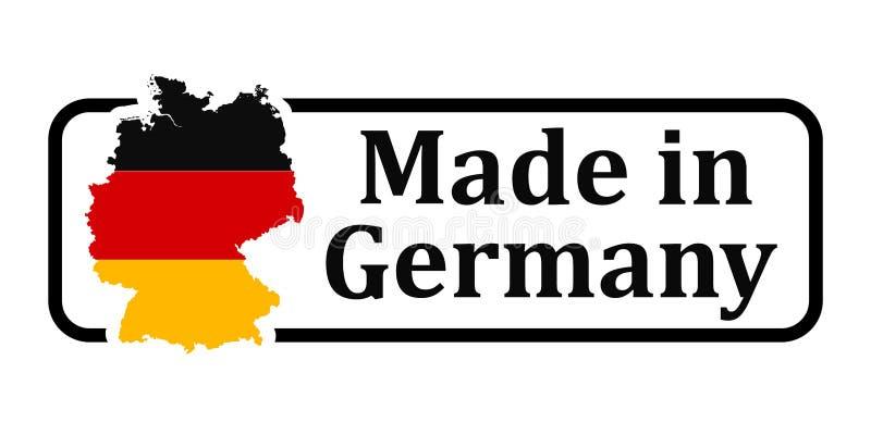 Sello negro con el lema hecho en Alemania y la bandera del país – vector común libre illustration