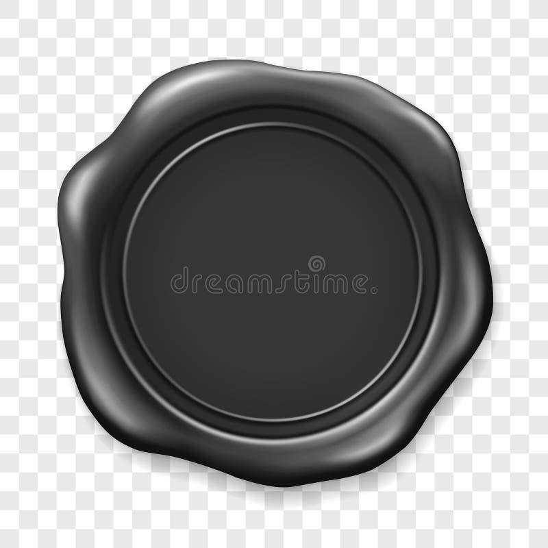 Sello negro de la cera Etiqueta realista del sello de la cera de lacre vieja en fondo transparente Visi?n superior Sello plástico ilustración del vector