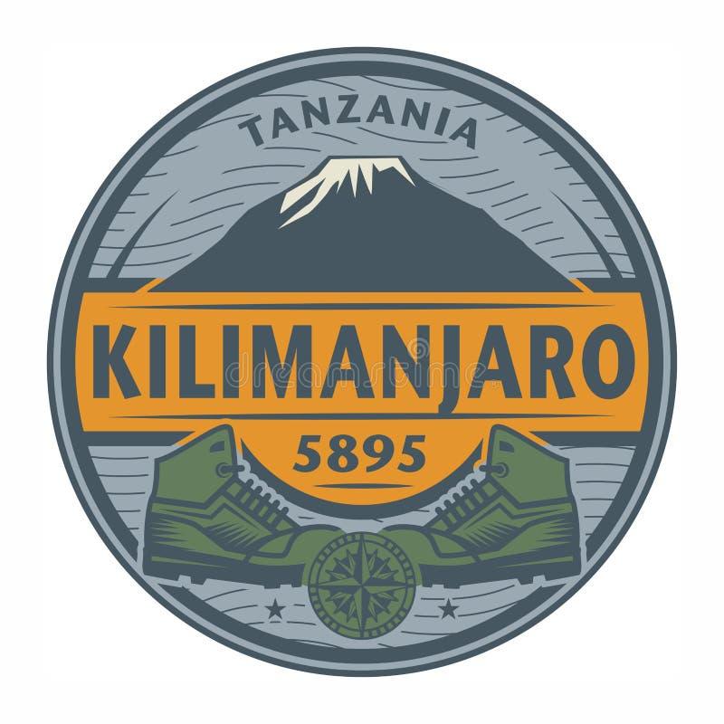 Sello o emblema con el texto Kilimanjaro, Tanzania stock de ilustración