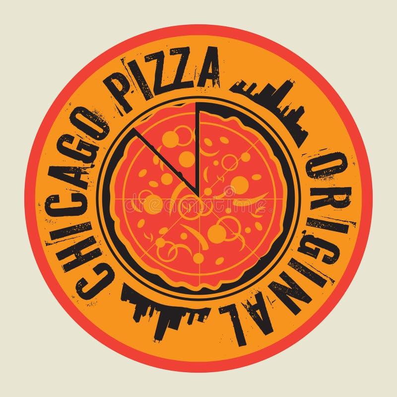 Sello o etiqueta de la pizza del vintage con la pizza de Chicago del texto libre illustration