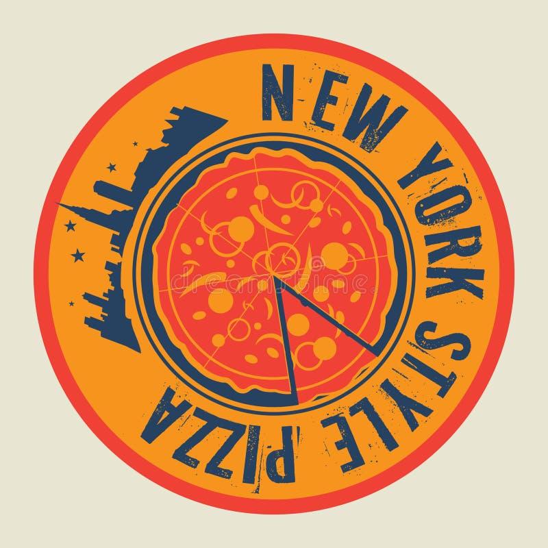 Sello o etiqueta de la pizza del vintage con la pizza del estilo de Nueva York del texto libre illustration