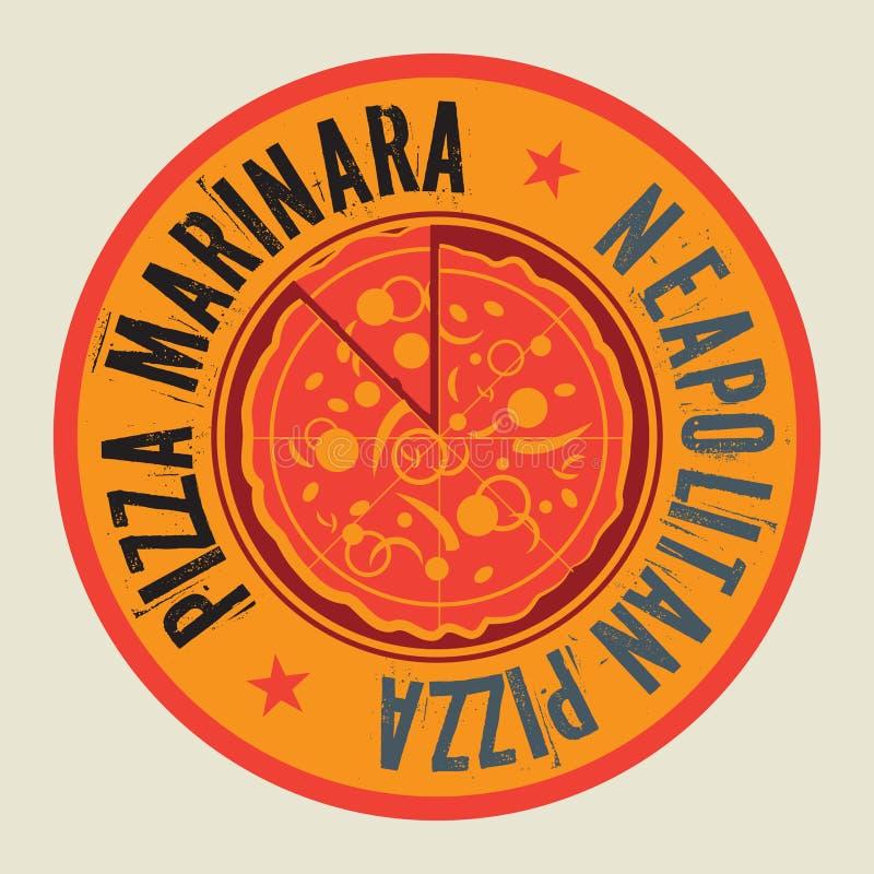 Sello o etiqueta de la pizza del vintage con la pizza napolitana del texto ilustración del vector
