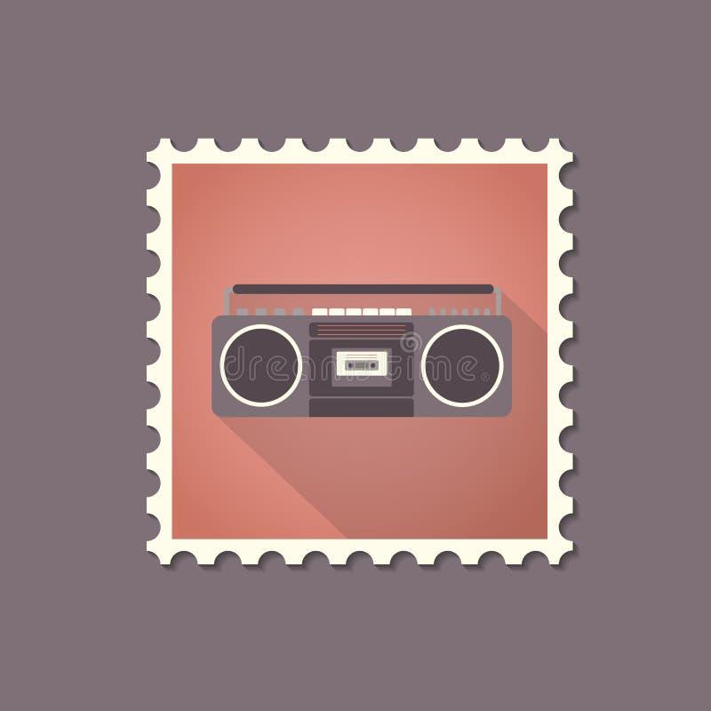 Sello plano de la grabadora retra del estilo con la sombra ilustración del vector