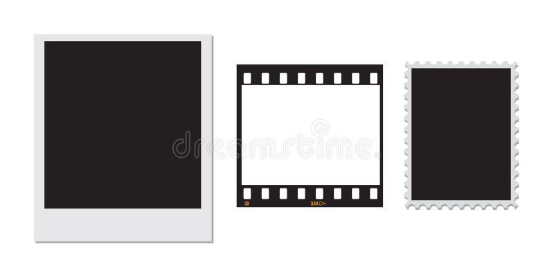 Sello polaroid y un marco de película de 35m m ilustración del vector