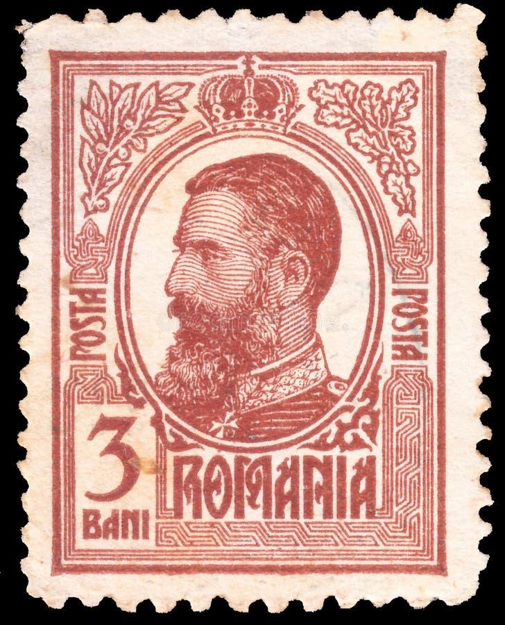 Sello postal antiguo raro impreso en Rumania con la imagen del rey rumano Carol I 1839-1914 foto de archivo