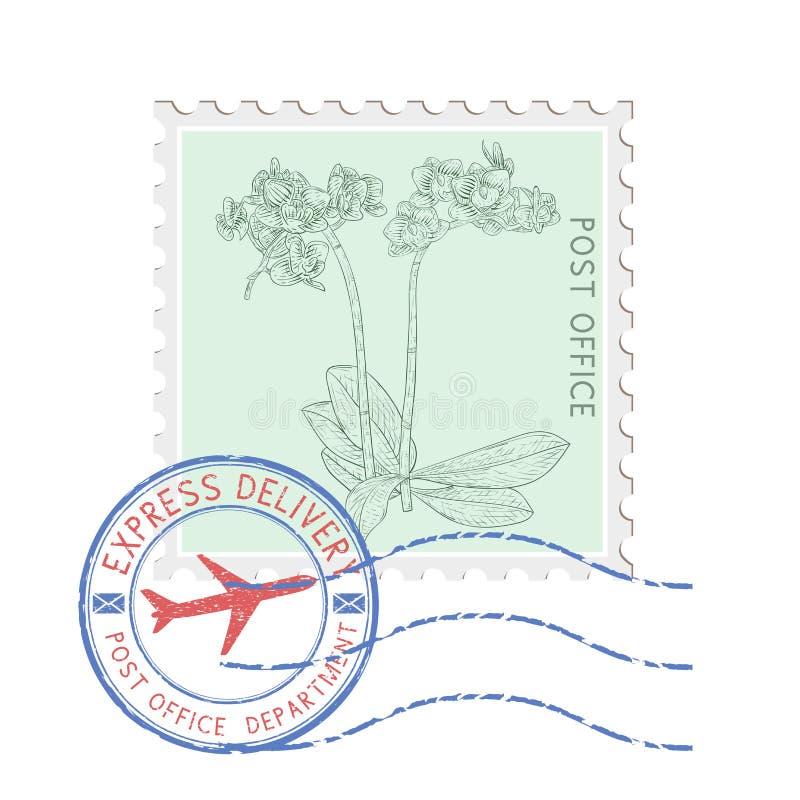 Sello postal con la flor y los matasellos redondos azules stock de ilustración