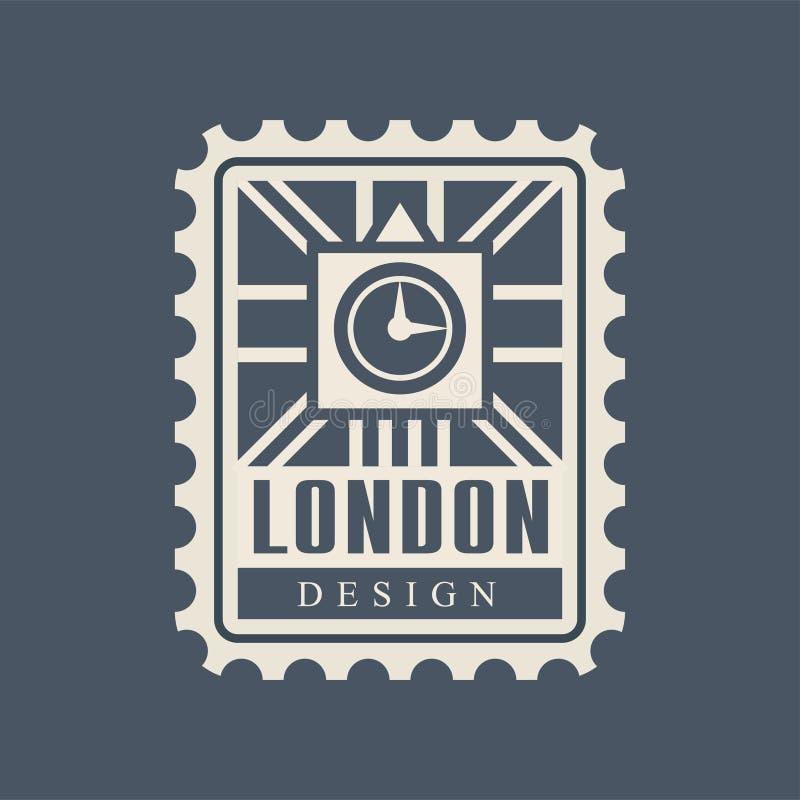 Sello postal de la ciudad de Londres con la silueta abstracta de Big Ben y bandera británica en fondo Configuración histórica ilustración del vector