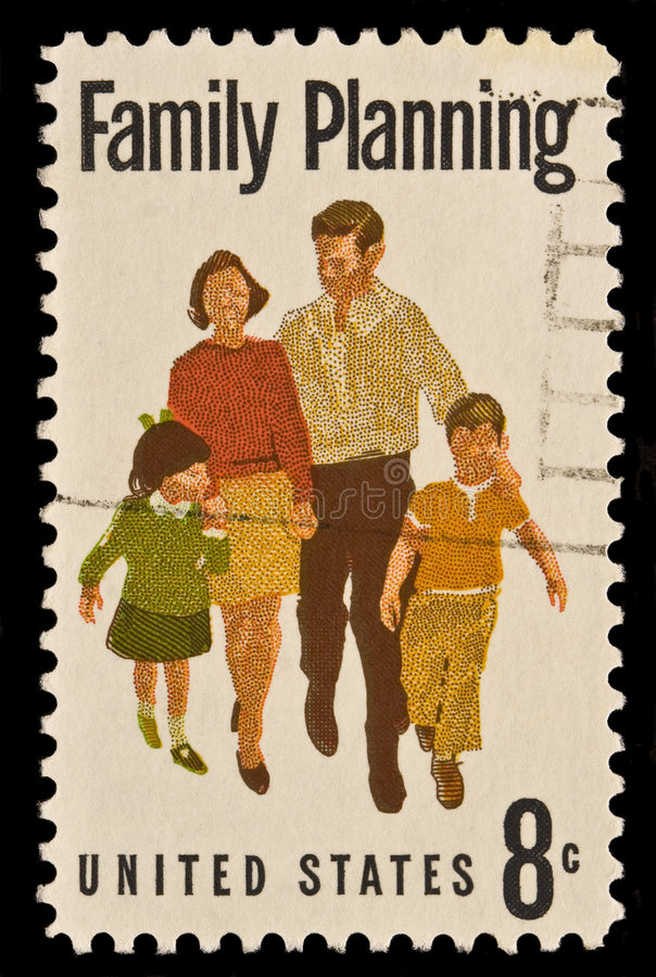 Sello postal de la planificación familiar foto de archivo libre de regalías
