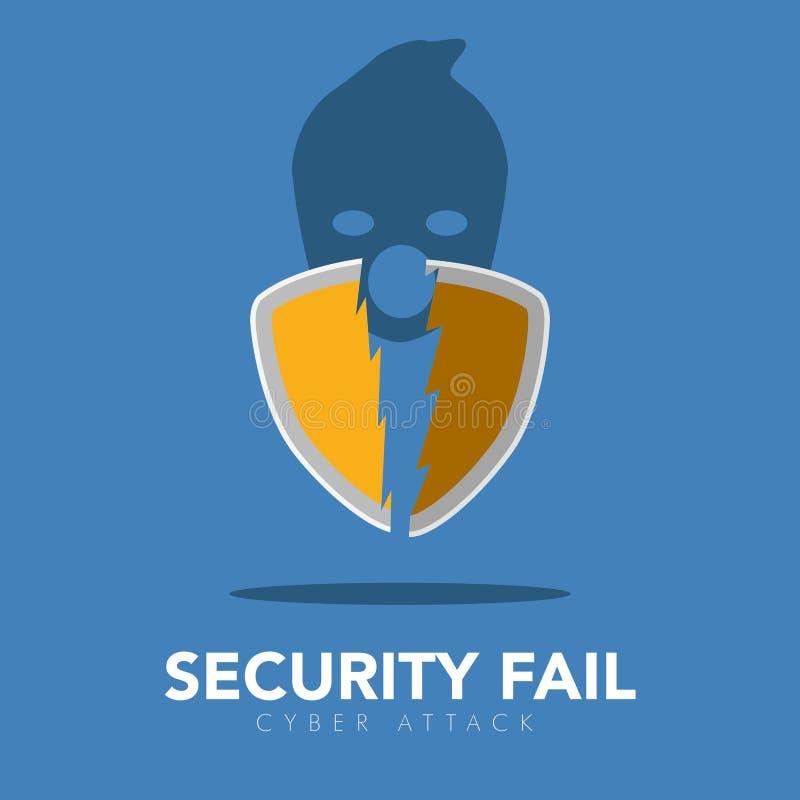 Sello quebrado y un icono del pirata informático Concepto cibernético de la seguridad libre illustration