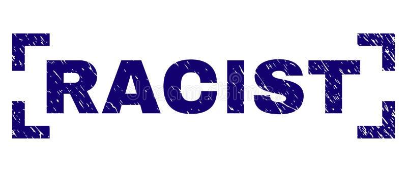 Sello RACISTA texturizado Grunge del sello entre las esquinas stock de ilustración