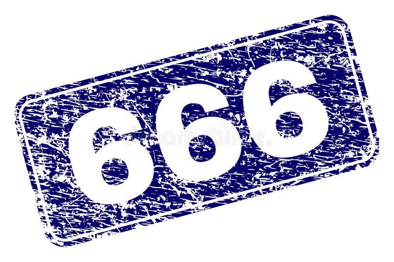 Sello redondeado enmarcado del rectángulo del Grunge 666 libre illustration