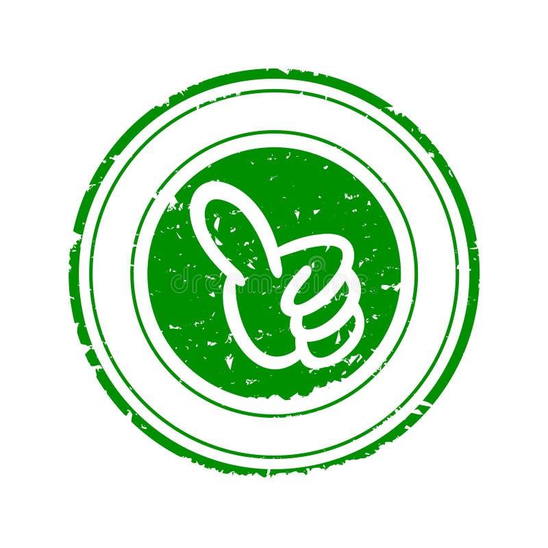 Sello redondo verde dañado con su vector del pulgar para arriba - imagen de archivo libre de regalías