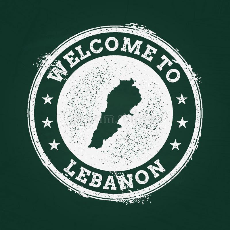 Sello retro de la textura blanca de la tiza con el libanés ilustración del vector