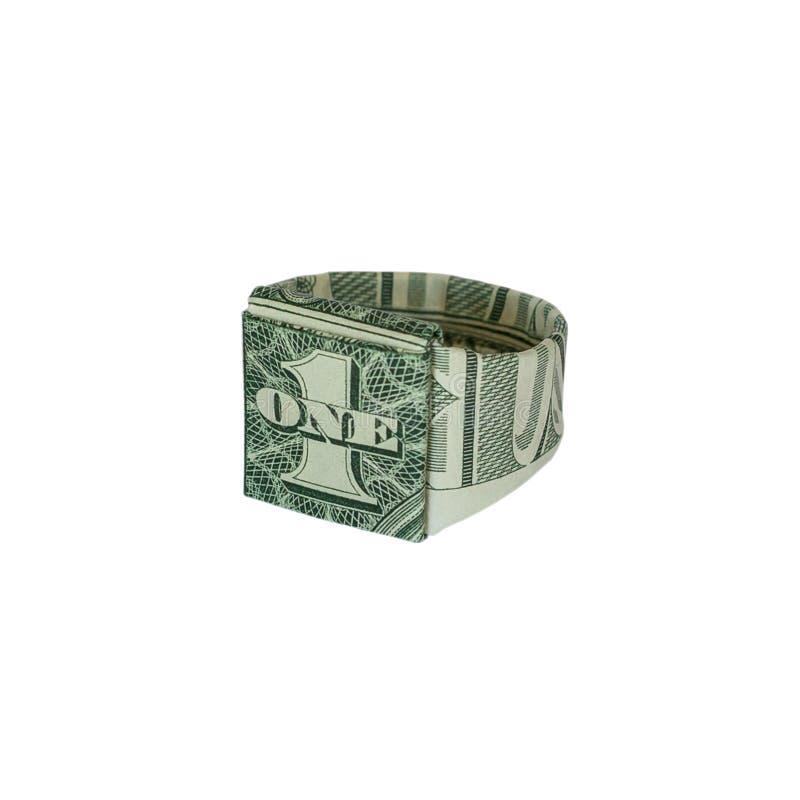 Sello RING Real One Dollar Bill de la papiroflexia del dinero imágenes de archivo libres de regalías