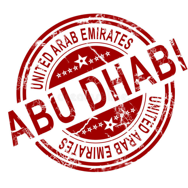 Sello rojo de Abu Dhabi stock de ilustración