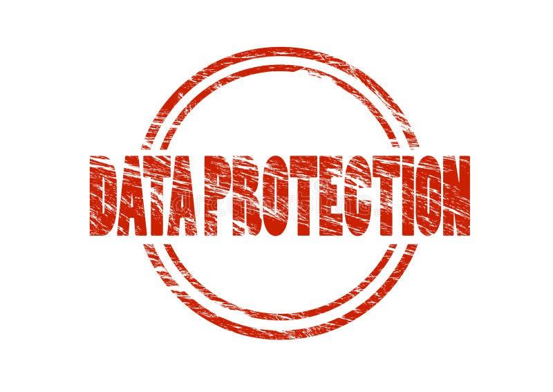 Sello rojo de la protección de datos stock de ilustración