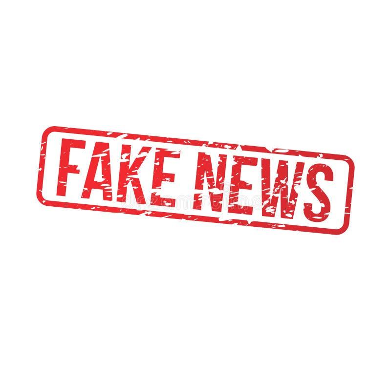 Sello rojo del grunge de las noticias falsas stock de ilustración
