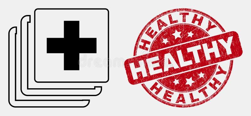 Sello sano médico del icono de los datos del esquema del vector y del sello del Grunge libre illustration
