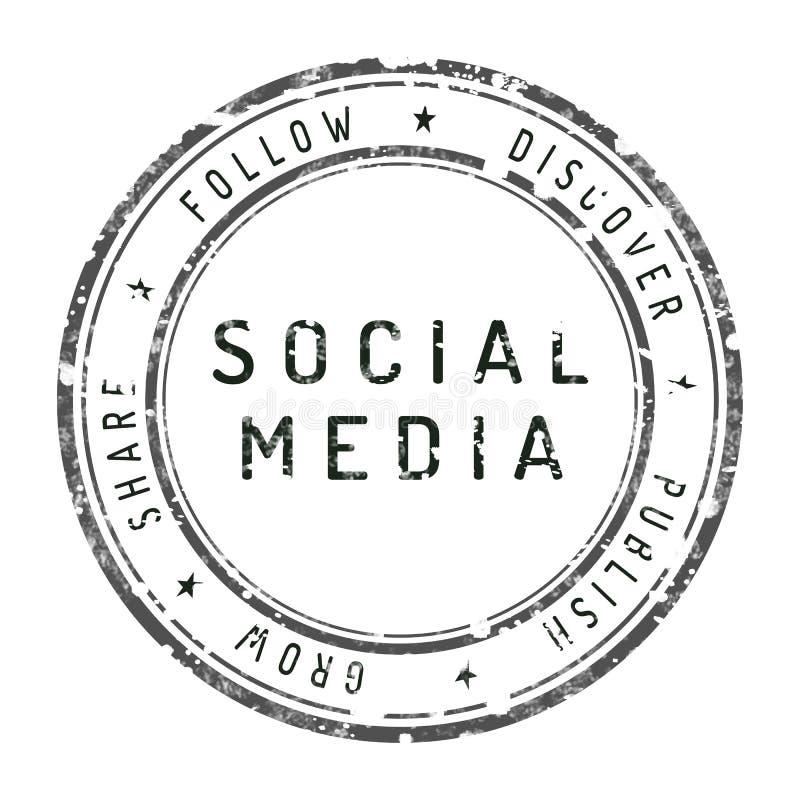 Sello social de los media aislado en blanco libre illustration