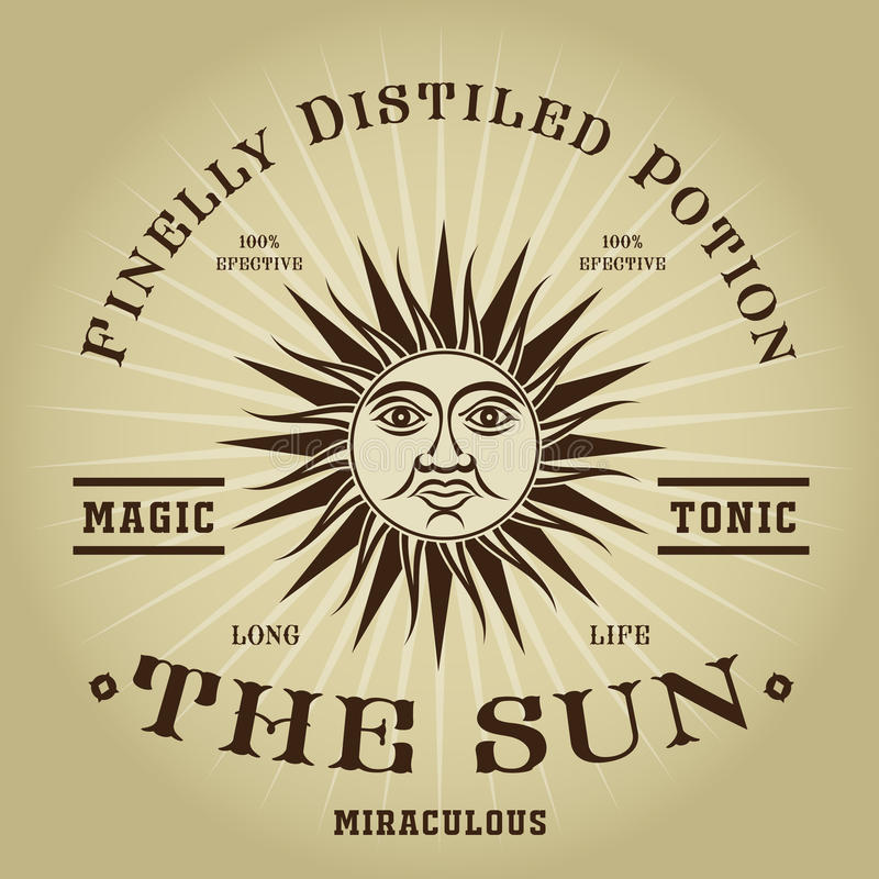 Sello tónico mágico retro de The Sun del vintage libre illustration