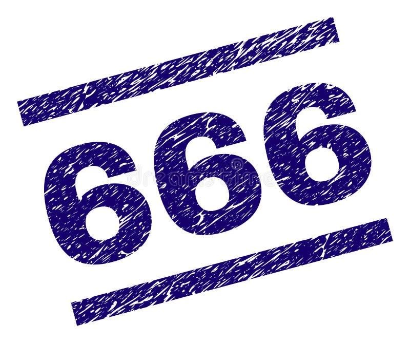 Sello texturizado rasguñado de 666 sellos stock de ilustración