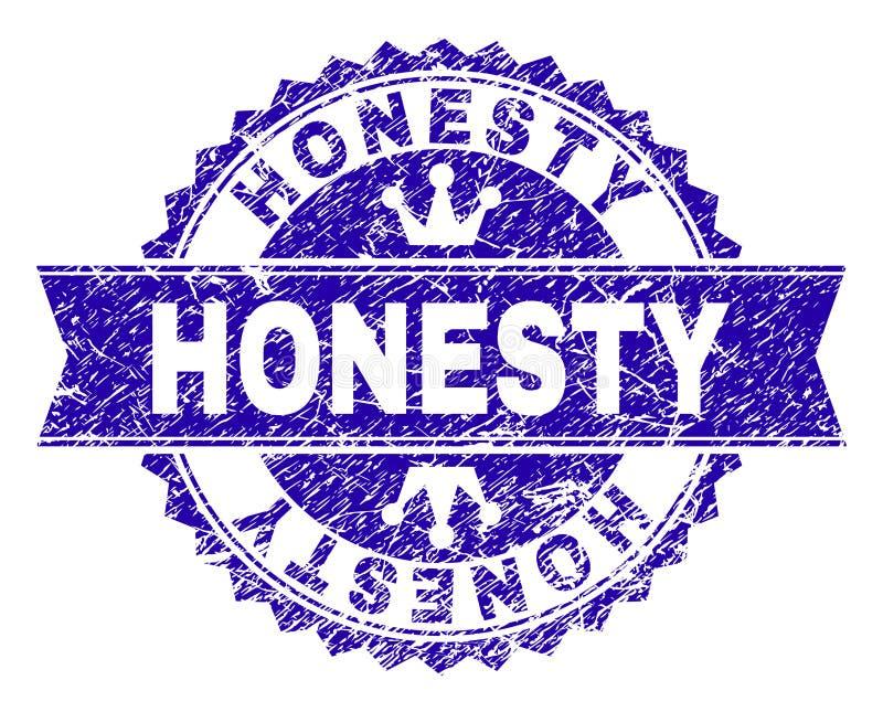 Sello texturizado rasguñado del sello de la HONRADEZ con la cinta stock de ilustración