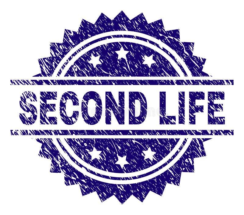 Sello texturizado rasguñado del sello de SECOND LIFE ilustración del vector