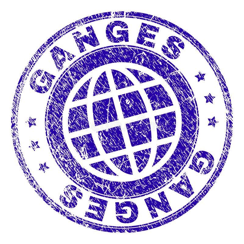 Sello texturizado rasguñado del sello del GANGES stock de ilustración