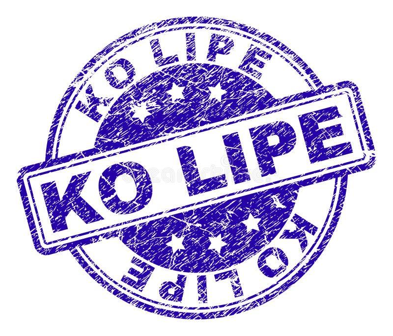 Sello texturizado rasguñado del sello del knock-out LIPE ilustración del vector