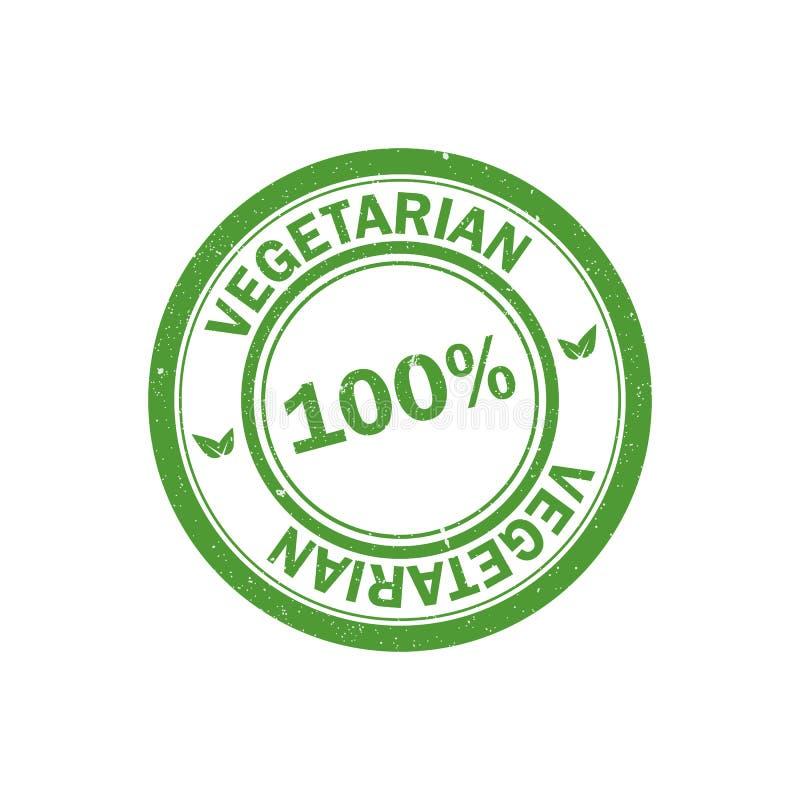 sello vegetariano del 100% Logotipo del vegano Engrana el icono stock de ilustración