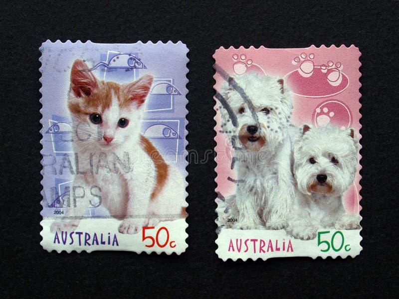 Sellos australianos del poste con los animales imagen de archivo libre de regalías