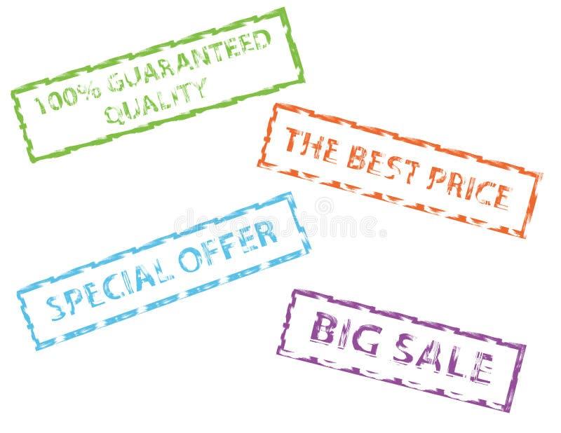 Sellos de goma de la venta stock de ilustración