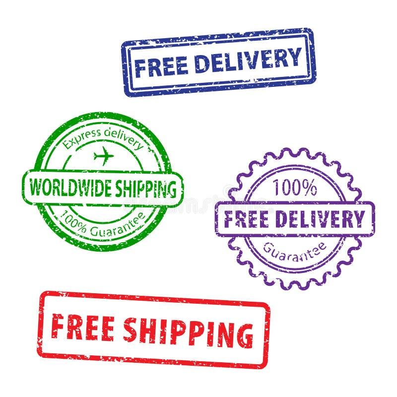Sellos de goma del sello del cuadrado del envío gratis del Grunge en el fondo blanco Sistema del sello del envío gratis Uso en el libre illustration