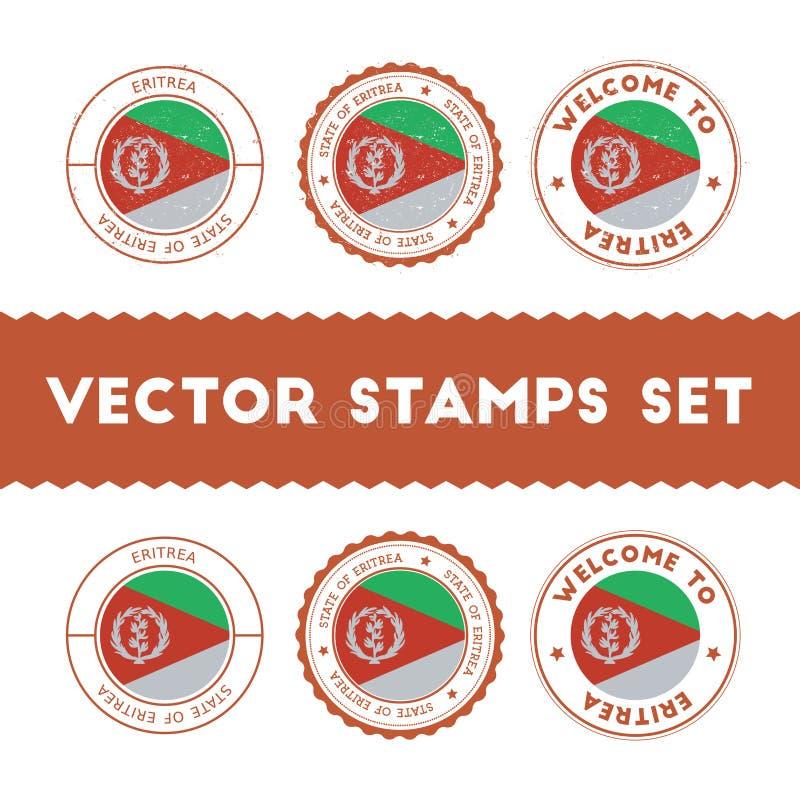 Sellos de goma de la bandera del Eritrean fijados ilustración del vector