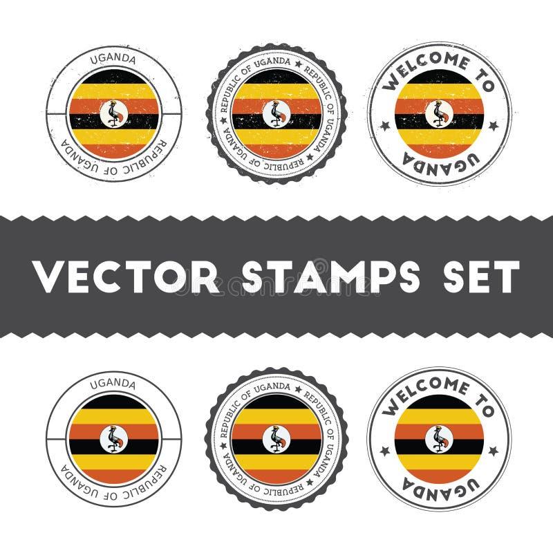 Sellos de goma de la bandera del Ugandan fijados ilustración del vector