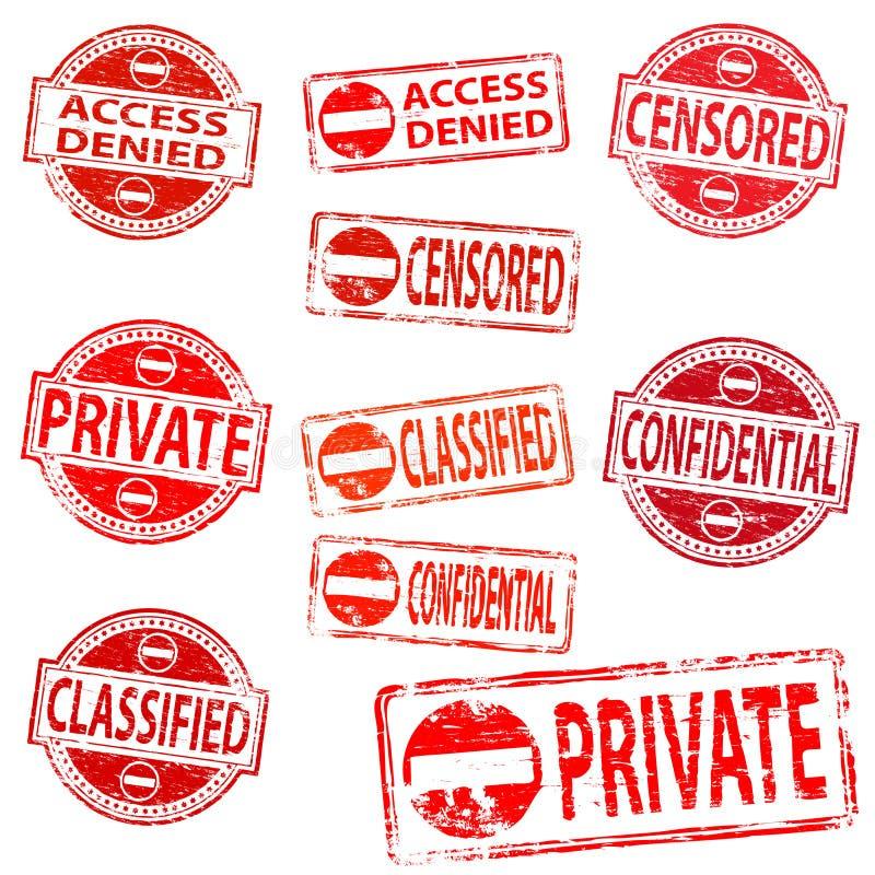 Sellos de goma privados y confidenciales stock de ilustración