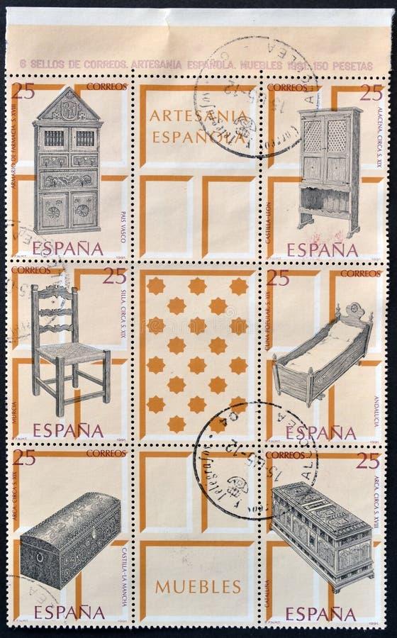 Sellos de la colección dedicados a las artesanías españolas imagen de archivo