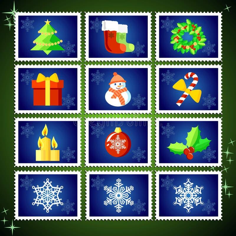 Sellos de la Navidad del vector stock de ilustración