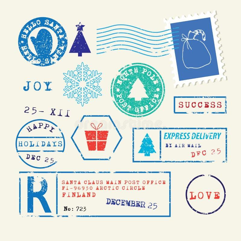 Sellos de la Navidad fijados stock de ilustración