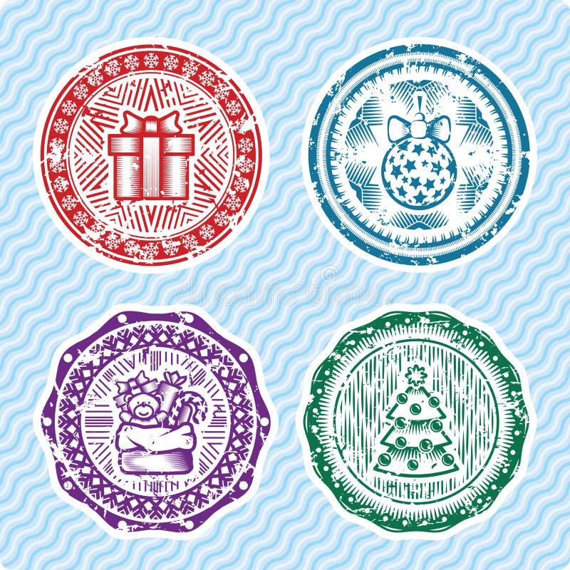 Sellos de la postal de la Navidad y del Año Nuevo ilustración del vector