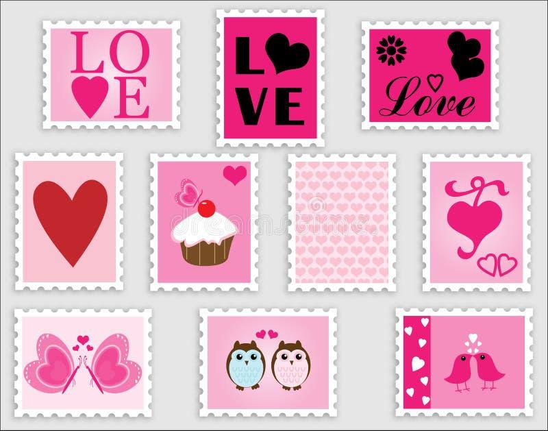 Sellos de la tarjeta del día de San Valentín del corazón del amor ilustración del vector