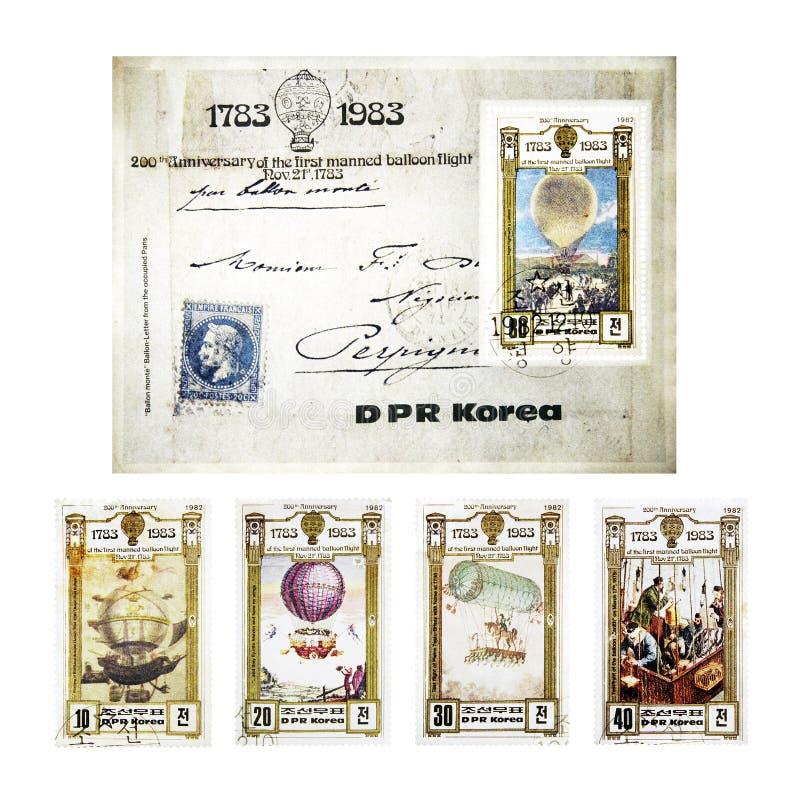 Sellos de la vendimia de DPR Corea fotos de archivo